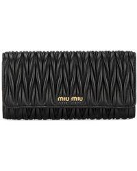 Miu Miu Matelass� Leather Wallet - Zwart