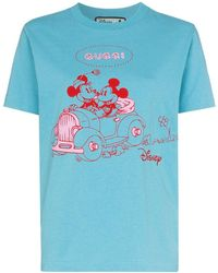Gucci Mickey Mouse ジャージーtシャツ - ブルー
