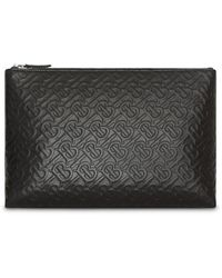 Burberry Monogram Leather Zip Pouch - Black
