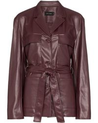 Low Classic Womens Red Belted Faux Leather Jacket