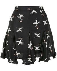 Macgraw Symphony Printed Silk Twill Mini Skirt - Black