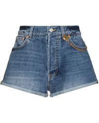 Givenchy Chain-link Detail Denim Shorts - Blue