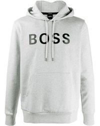 BOSS by Hugo Boss ロゴ パーカー - グレー