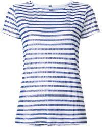 Majestic Filatures - Striped Crew Neck T-shirt - Lyst