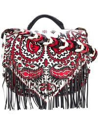 RED Valentino - Fringed Printed Shoulder Bag - Lyst