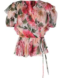 Dolce & Gabbana Ruffled Camellia-print V-neck Top - Pink