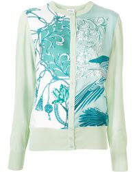 Ferragamo Floral Print Knitted Cardigan - Green