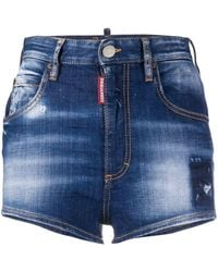 DSquared² Distressed Denim Hot Trousers - Blue