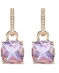 Kiki McDonough - 18kt Yellow Gold Kiki Classics Cushion Cut Lavender Amethyst And Diamond Detachable Hoop Earrings - Lyst