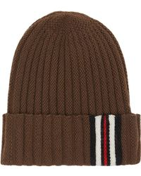 Burberry - Icon Stripe Detail Rib Knit Wool Beanie - Lyst