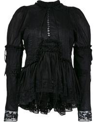 DSquared² Ruffle Trim Lace Blouse - Black
