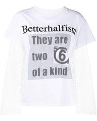 MM6 by Maison Martin Margiela Betterhalfism Mesh T-shirt - Белый