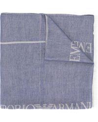 Emporio Armani Sjaal Met Logoprint - Blauw