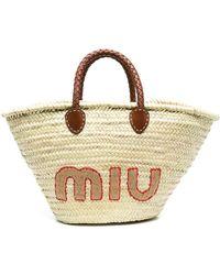 Miu Miu - Bolso shopper con logo bordado - Lyst