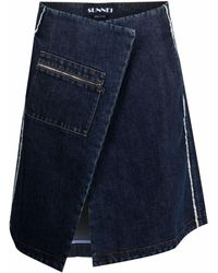 Sunnei Jupe portefeuille en jean - Bleu