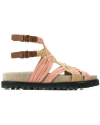 best sneakers 59ae3 47e8f Woven Strappy Sandals - Brown