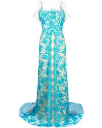 Parlor Lace Embroidered Maxi Dress - Blue
