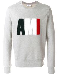 AMI Terrycloth Ami Logo Sweatshirt - Gray