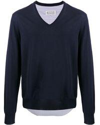 Maison Margiela シャツパネル Vネックセーター - ブルー