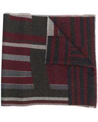 BOSS Striped fine knit scarf - Gris