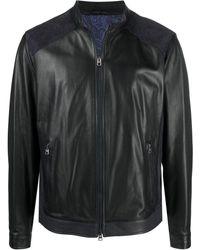 Etro Suede Panel Leather Jacket - Blue