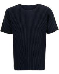 Homme Plissé Issey Miyake T-shirt a girocollo - Blu
