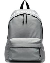 Balenciaga - Black And Grey Wheel Logo Embroidered Backpack - Lyst