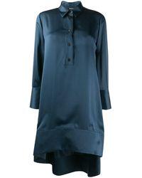 Giorgio Armani ボタン シルクドレス - ブルー