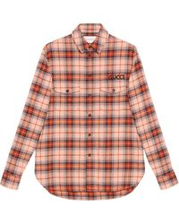 Gucci - Check Cotton Shirt With Paramount Logo - Lyst