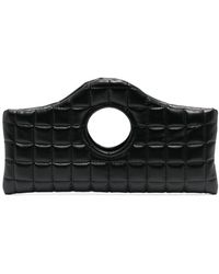 A.W.A.K.E. MODE Quilted Top-handle Clutch Bag - Black