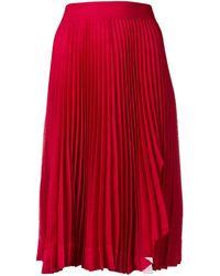 CALVIN KLEIN 205W39NYC Pleated Midi Skirt - Red