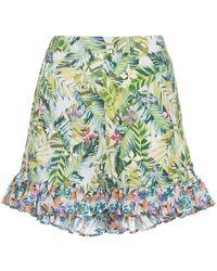 All Things Mochi Baila Tropical Print Ruffle Shorts - Groen