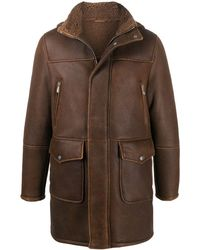 Eleventy Shearling Lined Leather Coat - Brown
