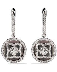 De Beers 18kt White Gold Enchanted Lotus Mother-of-pearl And Diamond Sleeper Earrings - Multicolor
