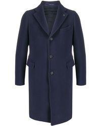 Tagliatore Manteau droit en maille fine - Bleu