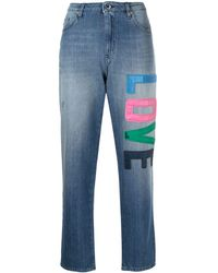Love Moschino Jean court à patch logo - Bleu