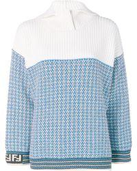 Fendi リブニット セーター - ブルー