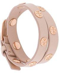Tory Burch Double-wrap Logo Stud Bracelet - Roze