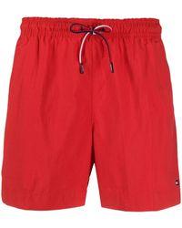 Tommy Hilfiger Drawstring Swim Shorts - Red