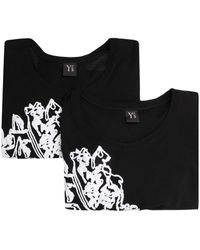 Y's Yohji Yamamoto Floral-print Long-sleeved Top - Black