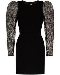 Haney Fiona Flocked Tulle Mini Dress - Black