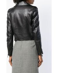 Balenciaga Veste De Moto à Taille Ceinturée - Noir