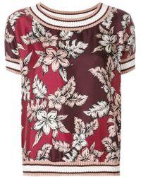 Moncler - Short-sleeve Floral Blouse - Lyst