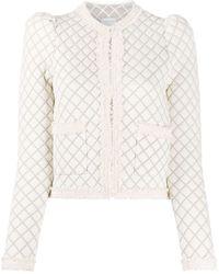 Sandro Veste en tweed à carreaux - Blanc