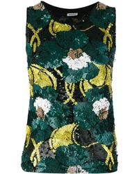 P.A.R.O.S.H. Floral Sequinned Tank - Groen
