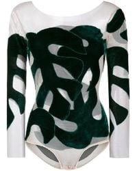 Alexia Hentsch Silk Bodysuit With Velvet Leaves - Green