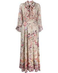 Camilla Neck-tie Floral Dress - Multicolour
