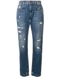 Dolce & Gabbana Jean skinny à effet usé - Bleu