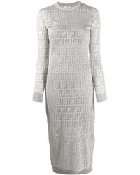 Fendi Ff Motif Midi Dress - Metallic