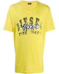 DIESEL Logo Print T-shirt - Yellow